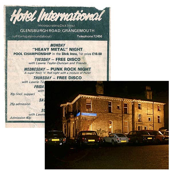 Flyer for The Hotel International Disco and an 80s-era photo of the hotel